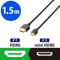 エレコム HDMIケーブル 1.4 mini 1.5m ブラック DH-HD14EM15BK (直送品)