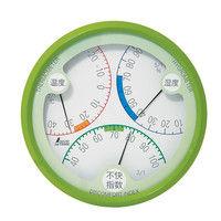 温湿度・不快指数計 R-2 丸型 15cm グリーン 70500 1セット(5個) シンワ測定 (直送品)