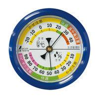 温湿度計 F-4S 生活管理 丸型 6.5cm ブルー 70516 1セット(10個) シンワ測定 (直送品)