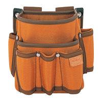 プロマックス 電工腰袋(2段・大/工具差し付) ブラウン PM-DE2K 1セット(4個) TJMデザイン (直送品)