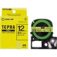 キングジム テプラ PROテープ 12mm 蛍光イエローラベル(黒文字) SK12Y 3個 (わけあり品)