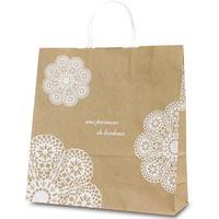 ベルベ 紙袋 1649 自動紐手提袋 T-6 レースィ(白) 1649 1包:200枚(50×4)(直送品)