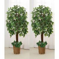 ファミリー・ライフ 人工観葉植物 2点セット(ベンジャミン&ベンジャミン) 幅700×奥行200×高さ1400mm (直送品)