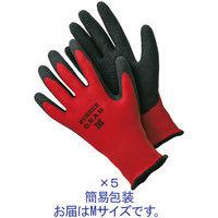 「現場のチカラ」 天然ゴム背抜き手袋 レッド Mサイズ 1袋 (5双入) 勝星産業