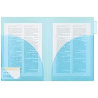 アスクル インデックス付き見開きカラークリアーホルダー ブルー 79389 1袋(10冊入)