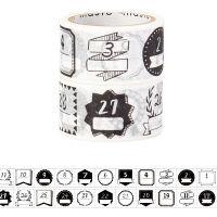 水性ペンで書けるマスキングテープ 日付柄/手描きモノクロ 幅22mm 2柄セット maste(マステ)(R) MST-FA09-F マークス