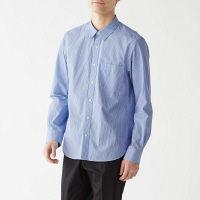【SALE】 無印良品 新疆綿洗いざらしブロードストライプシャツ 紳士 M ライトブルー 良品計画