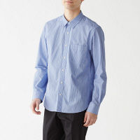【SALE】 無印良品 新疆綿洗いざらしブロードストライプシャツ 紳士 L ライトブルー 良品計画