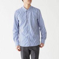 【SALE】 無印良品 新疆綿洗いざらしブロードストライプシャツ 紳士 M ブルー 良品計画