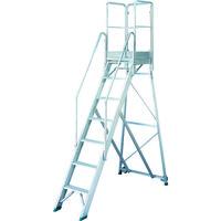 TRUSCO 折りたたみ式作業用踏み台 高さ2.10m 高さ900手すりフルセット付き TDAD-210-900TF 115-7859(直送品)