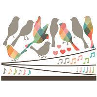 マッチングジャパン ウォールステッカー かわいい DIY シール「電線に集まる鳥たち」 TS-7004-ASS(直送品)
