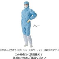 東洋リントフリー クリーンウェアフード一体ツナギ服(男女兼用) ブルー 4L FD175C-02 1枚 3-9706-06 (直送品)
