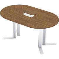 【組立設置付】プラス XF TYPE-L ハイテーブル幅1800×奥行1100×高さ1070mm ミディアムウッド/シルバー XL-1811HT 1台(直送品)