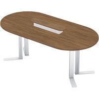 【組立設置付】プラス XF TYPE-L ハイテーブル幅2400×奥行1200×高さ1070mm ミディアムウッド/シルバー XL-2412HT 1台(直送品)