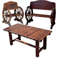 住まいスタイル 車輪ベンチ 小 1脚 大 1脚 焼杉テーブル 1台 ダークブラウン WBT1100-3PSET-DBR 1セット(3点入)(直送品)