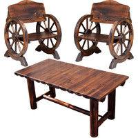 住まいスタイル 車輪ベンチ 小 2 脚 焼杉テーブル 1台 ダークブラウン WBT650-3PSET-DBR 1セット(3点入)(直送品)
