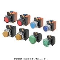 オムロン(OMRON) 押ボタンスイッチ 照光/きのこ形 金属ラウンドベゼル 透明緑 A22NL-RMM-TGA-G100-GD(直送品)
