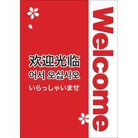 ササガワ インバウンド用店舗備品 ポスター A4判 Welcome 12E1611 1冊(5枚袋入)(取寄品)