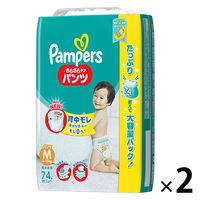 パンパース おむつ パンツ M(6~11kg) 1セット(74枚入×2パック) さらさらケア ウルトラジャンボ P&Gの画像