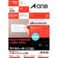 エーワン ラベルシール 強粘着タイプ プリンタ兼用 マット紙 白 A4 12面 1袋(100シート入)78512(取寄品)