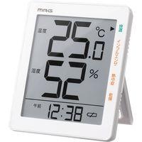 ノア精密 MAG デジタル温湿度計(時計付き) TH-105 WH(直送品)