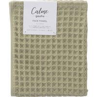 Calme ワッフルフェイスタオル グリーン CM2210 1セット(4枚)(直送品)