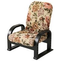ヤマソロ リクライニング式TV座椅子 フラワー 花柄 1台 (直送品)