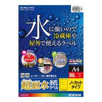 コクヨ(KOKUYO) カラーLBP用 超耐水紙ラベル A4 80枚入 ノーカット LBP-WS1900 1袋(80シート入) (直送品)