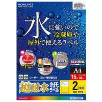 コクヨ(KOKUYO) カラーLBP用 超耐水紙ラベル A4 2面カット 15枚入 LBP-WS6902 1袋(15シート入) (直送品)