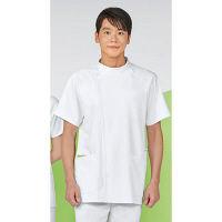 KAZEN メンズジャケット半袖 医療白衣 ホワイトxオリーブ LL 073-22 (直送品)