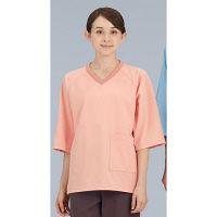 KAZEN ニット検診衣上衣 (検査着 患者衣) ピンク LL 292-13 (直送品)