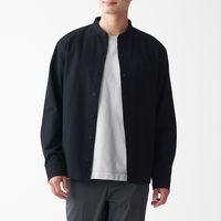 無印良品 新疆綿フランネルスタンドカラーシャツ 紳士 L 黒 良品計画