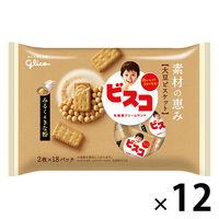 グリコ ビスコ 素材の恵み<大豆>みるく&きな粉 1セット(18パック入×12袋)