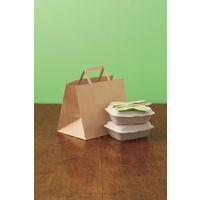 平紐 クラフト紙手提袋ベーシックタイプ 「FLAT」 280X220X180mm 1箱(100枚)【紙袋】