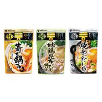 【お買い得セット】ミツカン 〆まで美味しい鍋つゆ3種セット(寄せ鍋、地鶏昆布だし、焼あごだし)
