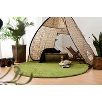 萩原 芝生の様なタッチ ふっくらラグ 1500×1500mm グリーン 240622950 1枚(直送品)