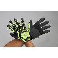 エスコ(esco) [LL] 手袋・メカニック(合成革/蛍光イエロー) 1セット(2双) EA353BX-124(直送品)