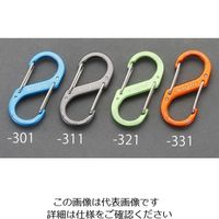 エスコ(esco) 50x23mm Sカンスナップフック(アルミ製/ブルー) 1セット(15個) EA638AD-301(直送品)
