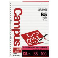 コクヨ キャンパス ルーズリーフ しっかり書ける B5 A罫7mm 1セット(500枚:100枚入×5袋) ノ-S836A(直送品)