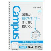 コクヨ 学習罫キャンパスルーズリーフ B5 図表罫6mm 1セット(500枚:100枚入×5袋) ノ-F836BK(直送品)