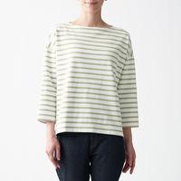 無印良品 太番手天竺編みボートネック七分袖Tシャツ 無地 ボーダー 婦人 M~L スモーキーグリーンボーダー 良品計画