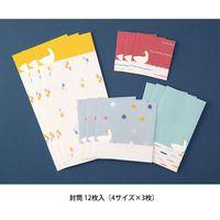 封筒 ガサガサ 4サイズ×3枚入 アヒル柄 20566006 1セット(3冊) デザインフィル(直送品)