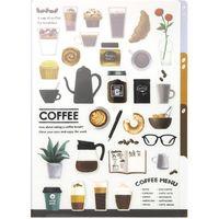 3ポケットクリアホルダー A4 コーヒー柄 35354006 1セット(4枚) デザインフィル(直送品)