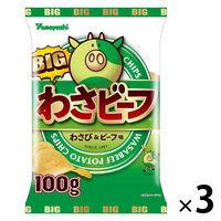 山芳製菓 ポテトチップス BIGわさビーフ 3袋 スナック菓子