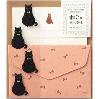 ミニレターセット シール付 黒猫柄 86306006 1セット(3冊) デザインフィル(直送品)