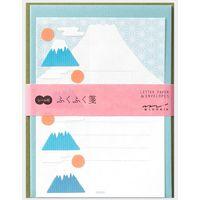 レターセット シール付 ふくふく 富士山柄 86479006 1セット(3冊) デザインフィル(直送品)