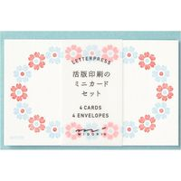 カードセット 名刺サイズ 活版 花フレーム柄 水色 88569006 1セット(4冊) デザインフィル(直送品)