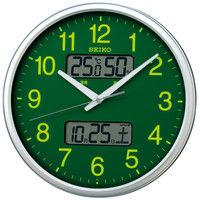 セイコー 温度湿度・カレンダー表示付き電波掛時計 直径350mm プラスチック枠 集光樹脂文字板 KX235H 1個