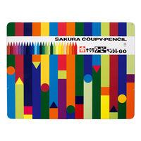 サクラクレパス 色鉛筆/クレヨン/絵の具 (学童用) クーピーペンシル60色(缶入) FY60 1セット