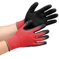 ミドリ安全 作業手袋 ハイグリップ 天然ゴム 背抜き MHG130 レッド×ブラック M リストカラー:緑 1双 4044101220(直送品)